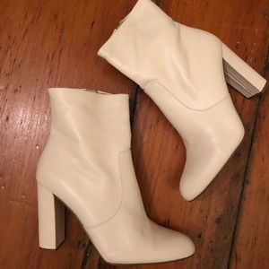 Editor White Block Heel Booties